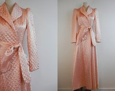 634519de84 Vintage Quilted Satin Robe   1940s Long Bias Cut Blush Pink Quilted Satin Dressing  Gown with Circle Skirt