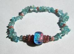 "Natural Kyanite Rhodochrosite Stretchy Healing Bracelet Handmade 7""  #Handmade #Beaded"