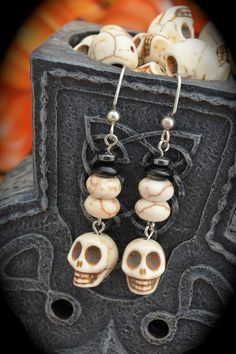 white ceramic skulls crackled white beads by aimeeNandysEarrings, $12.00