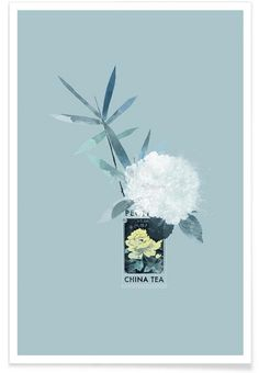 Poeny China Tea als Premium Poster