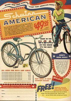 Schwinn American Vintage Bicycle Ad - x Retro Look Metal Sign Vintage Advertising Posters, Old Advertisements, Print Advertising, Vintage Ads, Vintage Posters, Vintage Prints, Old Bicycle, Bicycle Art, Old Bikes