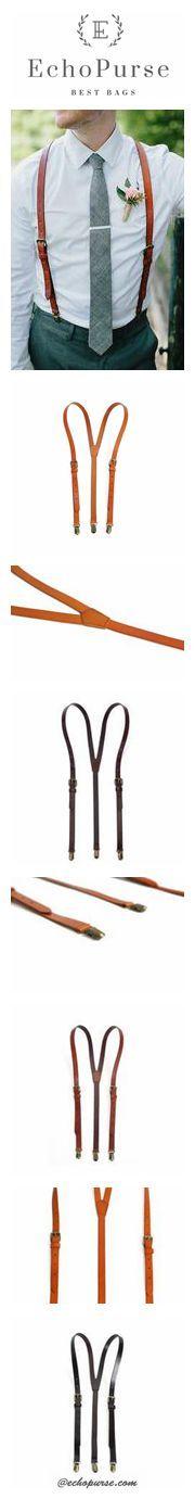 Groomsmen Wedding Suspenders, Genuine Leather Suspenders, Accessories 0191