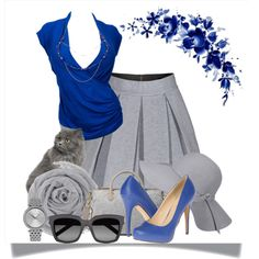 """Grey and blue"" by cavell on Polyvore"