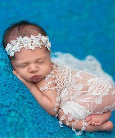 White Sparkle Floral Headband
