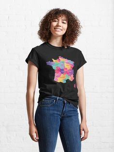 """Colorful France map with regions and main cities"" T-shirt by mashmosh 