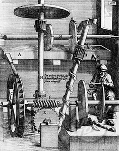 Water falling from an overhead tank drives an overshot wheel which drives a grinding stone and an archimedes screw. The spent water is collected in a trough, which is then bought back up to its original tank. From Theatrum Machinarum Novum, 1661.