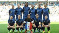 L'équipe de France de Football féminin lors du match de France/Russie, le 12 juillet 2013.