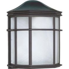 Glomar 1-Light Outdoor Textured Black Cage Lantern Wall Fixture with Die Cast Linen Acrylic Lens-HD-539 at The Home Depot