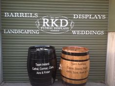 Wine Barrels personalized for you By RKD Floral Displays Barrels For Sale, Outdoor Flowers, Wine Barrels, Wedding Flowers, Indoor, Display, Landscape, Floral, Interior