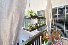 8 Bright Cool Tips: Simple Backyard Garden Diy shabby chic garden ideas picket fences.Whimsical Garden Ideas Diy garden ideas for small spaces with shed. Balcony Hanging Planter, Hanging Herbs, Diy Planters, Planter Ideas, Cedar Planters, Hanging Pots, Outdoor Planters, Apartment Vegetable Garden, Apartment Balcony Garden