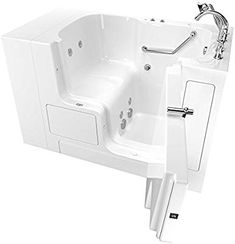 American Standard Linen / Polished Chrome Value Walk-In Whirlpool / Air Bathtub with Right-Hand Drain, Comfort Jets, and Quick Drain Pump - Roman Tub Filler and Handshower Included Walk In Tubs, Walk In Bathtub, Bathtub Drain, Drain Pump, Chair Height, Built In Seating, Soaking Bathtubs, Tub Faucet, Faucets