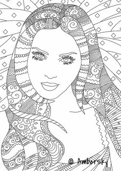 10 Crazy Hair Adult Coloring Pages | Crazy hair and Adult coloring