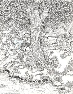 Fairy Tree by Jennifer McPherson is part of Garden coloring pages - Adult Coloring Pages, Garden Coloring Pages, Coloring Pages For Grown Ups, Fairy Coloring, Colouring Pages, Printable Coloring Pages, Coloring Sheets, Coloring Books, Detailed Coloring Pages