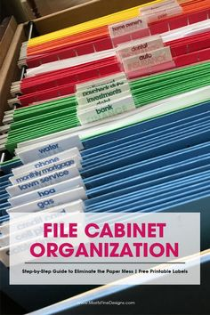 It's time to stop the paper clutter! These file cabinet tips & tricks will get your paper chaos organized in no time. Use the free printable labels to get your file cabinet in tip top shape.