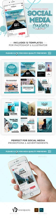Travel Social Media Templates — Photoshop PSD #1200x1200 • Available here ➝ https://graphicriver.net/item/travel-social-media-templates/21123755?ref=pxcr