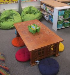 Someday, when I have a bigger classroom, I'll do this! I love having different seating options for the kiddos. (This would be in addition to tables/chairs.)