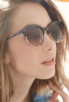 Half-Frame Tortoise Sunglasses