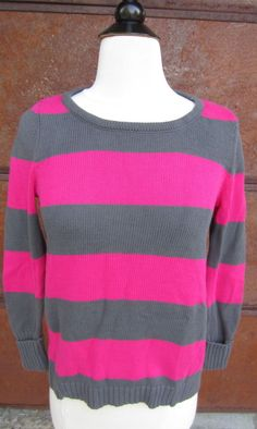 GAP Women's Crew Neck Sweater Pink/Gray Stripe Long Sleeve SZ XS $49.95 NWT