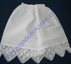 Loja do Folclore - Pintucked cotton petticoat with crocheted trim