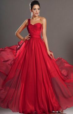 Red prom dress one shoulder long chiffon prom dresses formal evening dress/cocktail dress/homecoming dress/celebrity dress 10% off discount on Etsy, $119.00