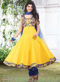 $77 Cbazaar #Yellow #ChanderiSilk #ChuridarSuit #Madhubala