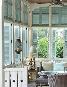 light aqua and creamy white beach cottage with LOTS of operational shutters.love all the shutters + Beachy + Cottage + Florida + Coastal Beach Cottage Style, Coastal Cottage, Coastal Homes, Beach House Decor, Coastal Decor, Cottage Porch, Brick Cottage, Coastal Style, House Porch