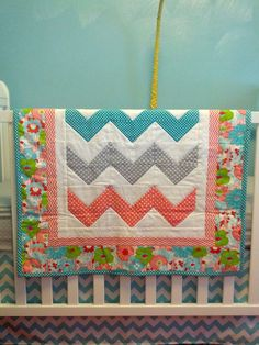 Modern Chevron Baby Girl Quilt Blanket Coral Turquoise Gray via Etsy Quilt Baby, Baby Quilt Patterns, Baby Girl Quilts, Girls Quilts, Kid Quilts, Baby Sewing Projects, Quilting Projects, Quilting Designs, Quilting Ideas