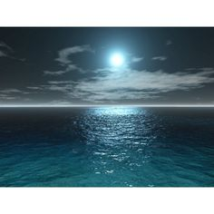 Sea Moonlight - 3D/Digital Art wallpaper - Free Quality Desktop... ❤ liked on Polyvore featuring backgrounds, ocean, sea, water, blue and filler