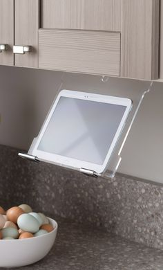 Whether you like to keep a clutter-free counter, or you get a little messy while cooking, installing a tablet holder under your cabinetry is a creative way to free up space! Visit your nearest @homedepot store and start designing your dream kitchen.