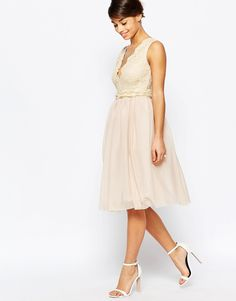 ea853a34f10b Image 4 of John Zack Petite Plunge Lace Bodice Prom Dress Corsage