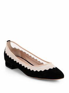 Chloé - Scalloped Suede & Mesh Ballet Flats
