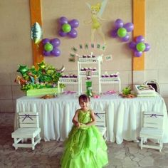 Tinkerbell Fairies, Tinkerbell Party, 1st Birthday Parties, 3rd Birthday, Purple Desk, Balloon Flowers, Ideas Para Fiestas, Event Organization, Streamers