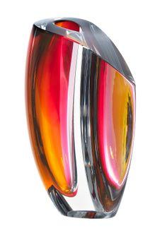 Kosta Boda Mirage Grey/Red Medium Vase