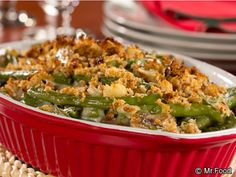 Guiltless Green Bean Casserole - A diabetic-friendly version of a Thanksgiving classic. Our Guiltless Green Bean Casserole is a side dish must-have! Healthy Casserole Recipes, Healthy Recipes, Diabetic Recipes, Diabetic Foods, Keto Casserole, Chicken Casserole, Healthy Foods, Keto Recipes, Side Dish Recipes