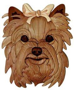 Wood-Burning Craft Patterns   Yorkshire Terrier Intarsia Pattern