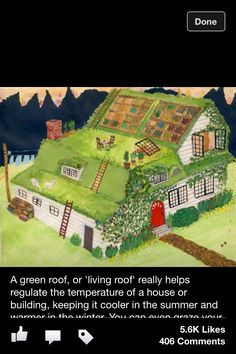 ROBIN LAUREL: a green roof! A green roof, or 'living roof' really helps regulate the temperature of a house or building, keeping it cooler in the summer and warmer in the winter. Natural Building, Green Building, Casa Bunker, Earthship Home, Earthship Design, Living Roofs, Living Walls, Earth Homes, My Dream Home