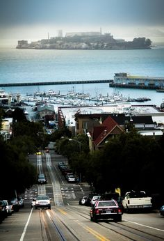 Alcatraz, San Francisco | California -- I remember driving down this street, and seeing this island pop into view! Had seen it many times in history books and photographs. Surreal seeing this historic sight in person. San Fran is such a neat city!