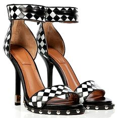 GIVENCHY Black White Woven Leather Ankle Strap Sandals