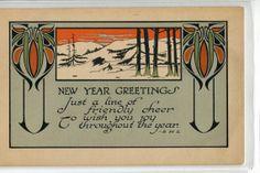 New Year's vintage postcard  Art Noveau by sharonfostervintage, $4.00