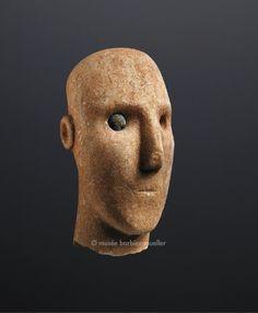 Tête de figure de type Plastiras, culture du Cycladique, Grèce, archipel des Cyclades | Art des Cyclades et apparenté aux Cyclades - Les Musées Barbier-Mueller