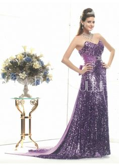 Luxurious Sheath/Column Sweetheart Satin Evening Dress With Whole Body Sash And Sequins#dress