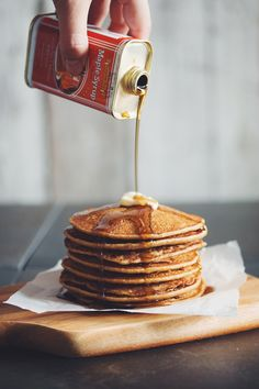 vegan pumpkin spice pancakes with warm maple syrup | RECIPE on hotforfoodblog.com