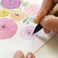 Painting ranunculus