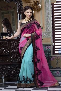 fb7caf0509801 Net Party Wear Saree in Sky Blue and Pink Colour Lehenga Saree