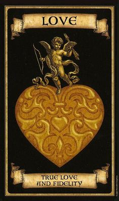 Madame Endora's Fortune Cards The golden heart is a symbol of true love and romance. It represents honesty, fidelity, a lasting union, and a rekindling of affections. You will attain your heart's desire. Fortune Cards, Fortune Telling Cards, Magia Elemental, Elemental Magic, Yi King, Arte Black, Oracle Tarot, Angel Cards, Card Reading