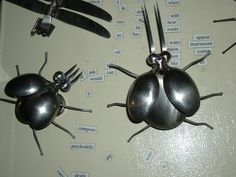 https://flic.kr/p/bt5gz5 | Metal Spoon Ladybugs | These bugs are made from spoons, put them on the refrigerator or on a window, guys like them to magnet on the outside grill.
