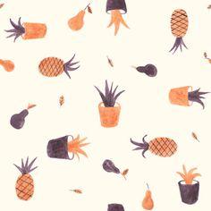 Pineapple illustration pattern #patterns
