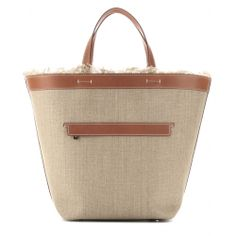 LORO PIANA Fleming linen and leather tote
