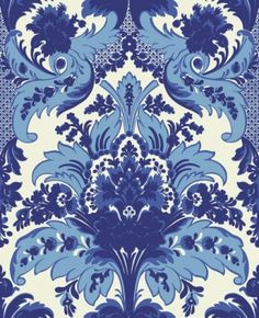 Aldwych (94/5025) - Cole & Son Wallpapers - A sophisticated, feathery and floral column damask in bright shades of blue, highlighted with a textured dark blue glitter.  Please request sample for colour match. Paste the wall.