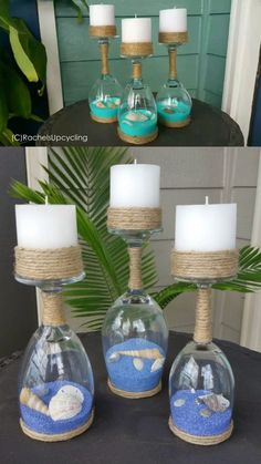 Seashell and Sand Wine Glass Candle Holders- Adorable summer DIY craft project to make. decor diy videos Seashell and Sand Wine Glass Candle Holders